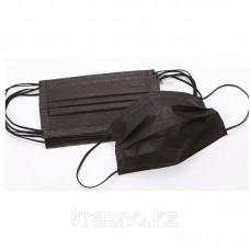 Маски трехслойные на резинке, цвет: черный, 10 шт